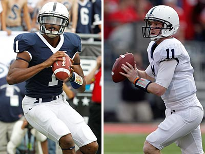Robert Bolden and Matt McGloin have battled in the spring to be Penn State´s starting quarterback. (AP Photos)