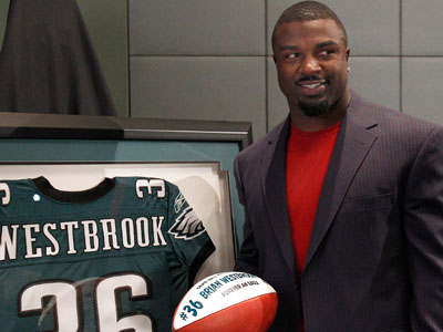 Brian Westbrook retires as an Eagle during a press conference at the<br />NovaCare Complex. (David Mialetti/Staff Photographer)