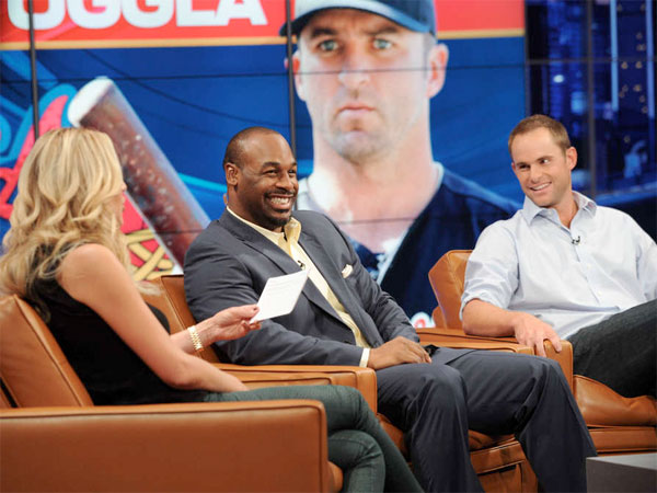 "Chatting it up on the sofa are Charissa Thompson, Donovan McNabb, and Andy Roddick on ""Fox Sports Live."" Critical reaction to the Fox Sports 1 channel has been mixed. (RAY MICKSHAW / Fox Sports 1)"