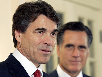 Republican presidential nomination contenders Rick Perry (foreground) and Mitt Romney (background). Romney has faded in the polls in recent weeks and now trails Perry in the GOP race.