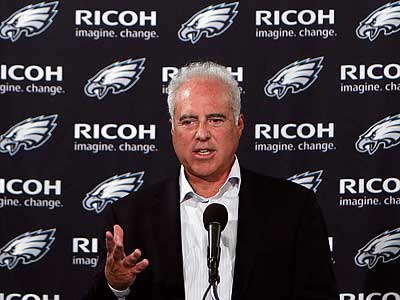 "Jeffrey Lurie said he expects a Lurie said he expects a ""substantially improved team&quot; this season. (David Maialetti/Staff Photographer)<br />"