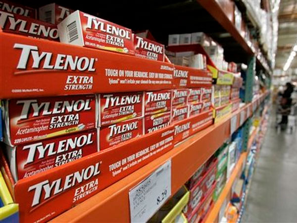 Tylenol is shown in the drug department at Costco in Mountain View, Calif. (AP Photo/Paul Sakuma, File)