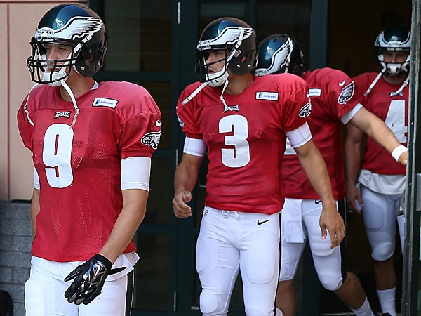 Eagles quarterbacks (left to right) Nick Foles, Mark Sanchez and Matt Barkley. (David Maialetii/Staff Photographer)