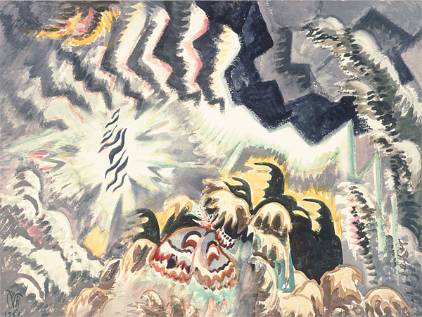 "Charles Burchfield, ""The Moth and the Thunderclap,"" 1961, shocking and violent. A painting like this one distills not just the art of 1961, but midcentury American culture at large. (Burchfield Penney Art Center)"