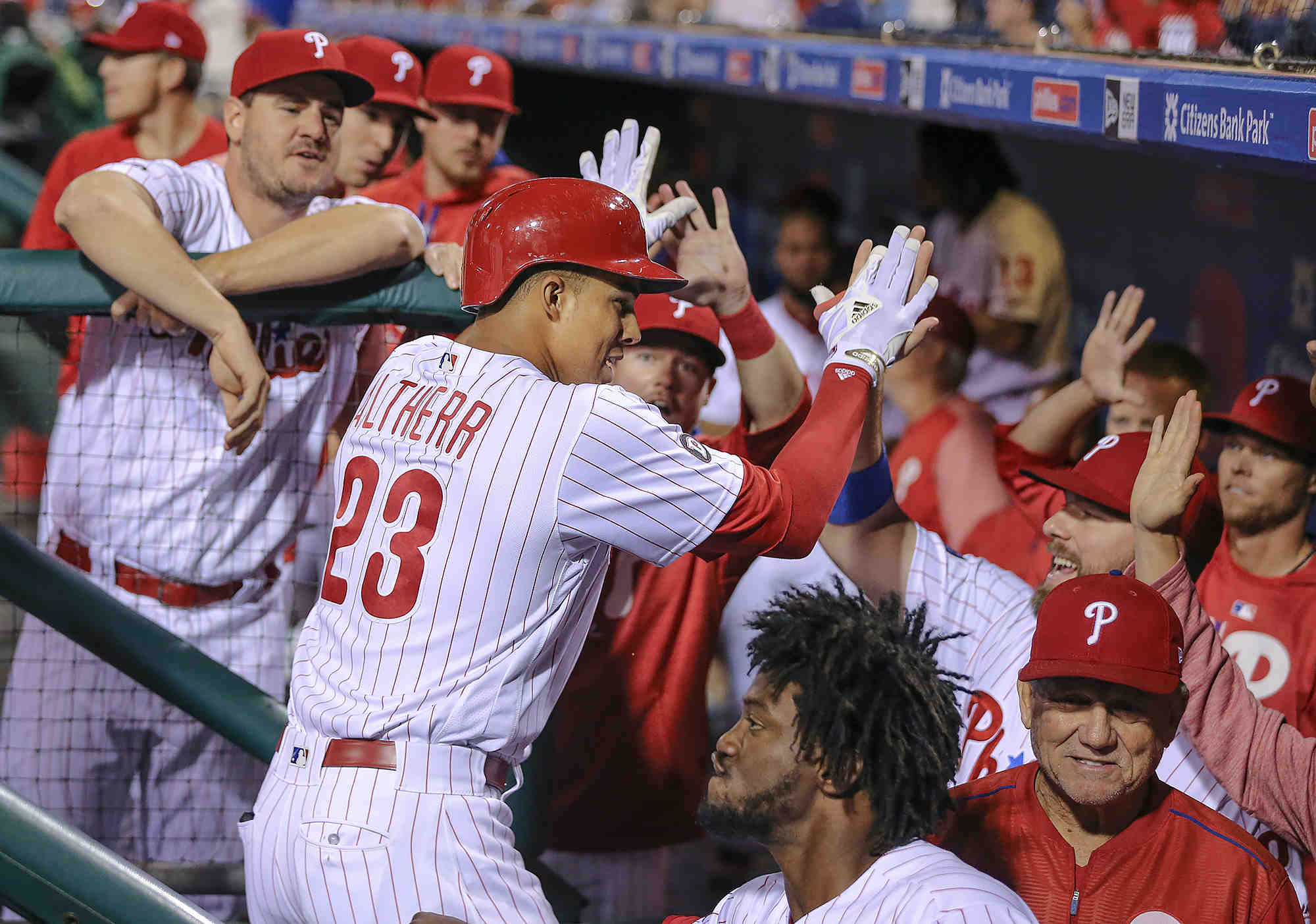 Phillies´ Aaron Altherr celebrates his solo homer against the  Dodgers during the 8th inning at Citizens Bank Park in Philadelphia, Tuesday, September 19, 2017.  Phillies beat the Dodgers 6-2.   STEVEN M. FALK / Staff Photographer
