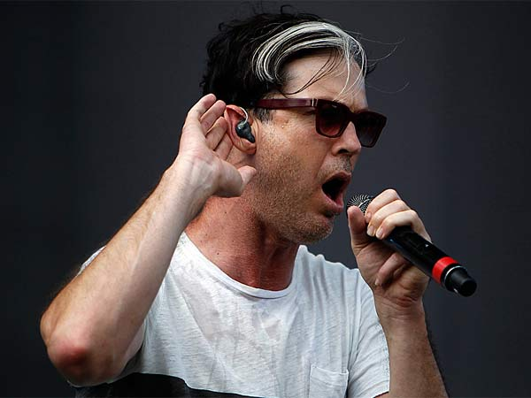 Michael Fitzpatrick of Fitz & The Tantrums performs during the Budweiser Made in America festival in Philadelphia on September 1, 2013. (David Maialetti/Staff Photographer)