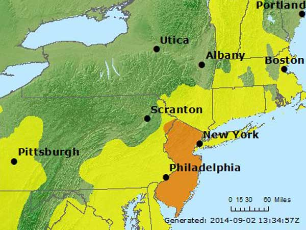 The orange areas on this map show places where unhealthy ozone levels are forecasted for today. (Courtesy of airnow.gov)