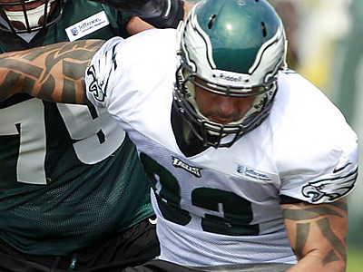 Eagles defensive end Jason Babin has been sidelined with a calf strain.  (Yong Kim / Staff Photographer)