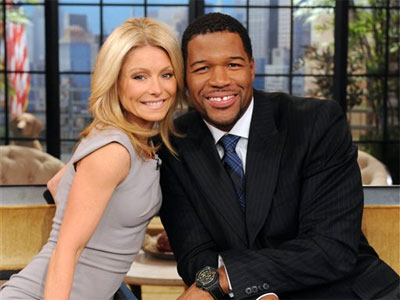 Kelly Ripa with her Live! show host, Michael Strahan.