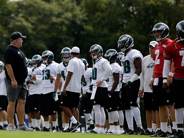 Philadelphia Eagles head coach Chip Kelly walks the field during practice at the NFL football team´s training facility, Thursday, Sept. 5, 2013, in Philadelphia. (AP Photo/Matt Rourke)