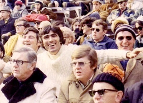 "Vince Papale (center) -- then a school teacher in Interboro -- sits in his ""nosebleed"" season ticket seats with his buddies during an Eagles game at The Vet circa 1973. (Vince Papale photo)"