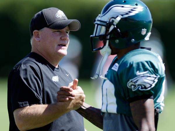 Eagles wide receiver DeSean Jackson, right, and head coach Chip Kelly shake hands at the NFL football team´s training facility, Wednesday, Sept. 4, 2013, in Philadelphia. (Matt Rourke/AP)