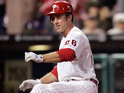 Chase Utley was hit by a 91 m.p.h. sinker in the sixth inning. (Tom Mihalek/AP file photo)