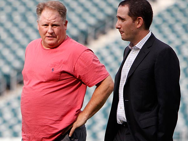Eagles head coach Chip Kelly (left) and general manager Howie Roseman. (David Maialetti/Staff Photographer )