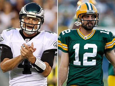 Kevin Kolb and Aaron Rodgers both backed-up veterans before earning starting jobs. (Steven M. Falk/Mike Roemer/Staff and AP photos)