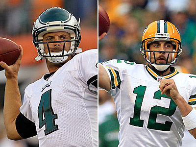 Kevin Kolb has been drawing a lot of comparisons to Aaron Rodgers, right, who he will face on Sunday. (AP file photos)