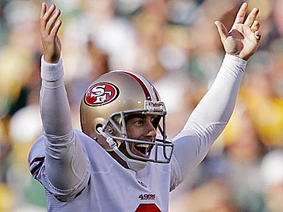 49ers kicker David Akers tied the NFL record for longest field goal by hitting a 63-yarder against the Packers. (Jeffrey Phelps/AP)