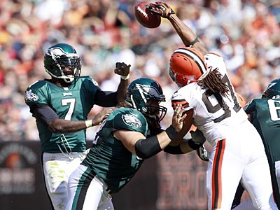 Michael Vick threw two touchdowns and four interceptions against the Browns on Sunday. (Yong Kim/Staff Photographer)