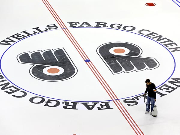 Flyers logo on the ice at the Wells Fargo Center in South Philadelphia. (AP Photo/Matt Rourke)