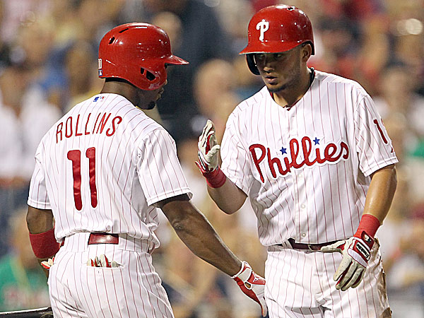 The Phillies´ Jimmy Rollins and Freddy Galvis. (Yong Kim/Staff Photographer)
