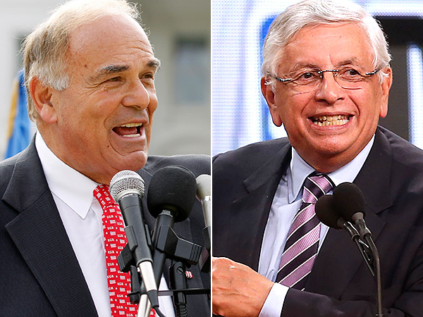 Former Pennsylvania Governer Ed Rendell and NBA commissioner David Stern. (AP Photos)
