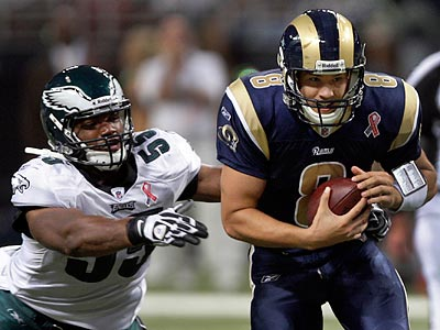 Eagles DE Darryl Tapp had a sack and two QB hurries in eight opportunities Sunday against the Rams. (Tom Gannam/AP)
