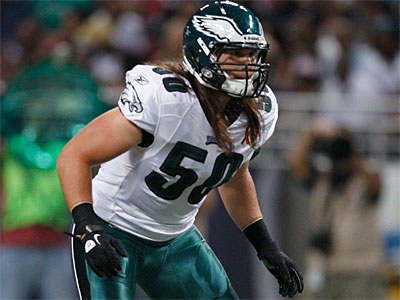 The Eagles´ Casey Matthews will move to weakside linebacker for this Sunday´s Giants game. (Jeff Roberson/AP)