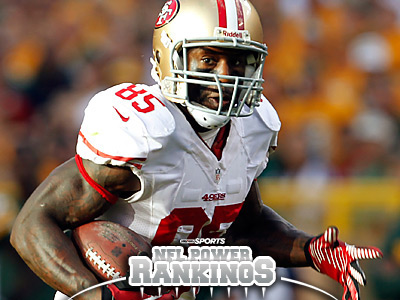 Thanks to a road win over the Packers, Vernon Davis and the 49ers are atop our NFL Power Rankings. (Mike Roemer/AP Photo)