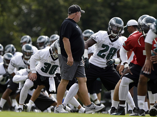 Eagles head coach Chip Kelly watches his team during practice at the NovaCare Complex. (Matt Rourke/AP)