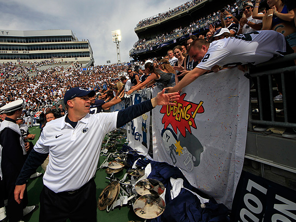Penn State football coach Bill O´Brien shakes hands with fans. (Gene J. Puskar/AP file photo)
