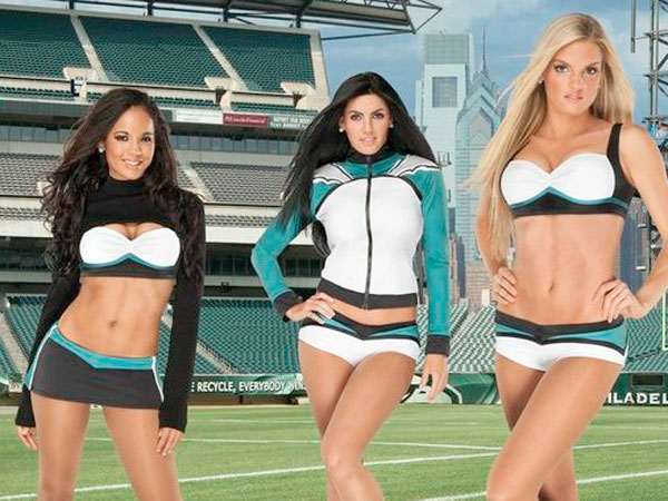 The newly-unveiled Vera Wang Eagles cheerleaders´ uniforms. (Photo courtesy of the Philadelphia Eagles)