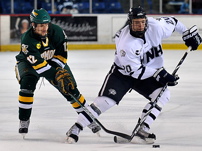 Blake Kessel (right) played with James van Riemsdyk at the University of New Hampshire. (Josh Gibney/AP file photo)