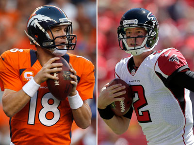 Peyton Manning and the Broncos face off against Matt Ryan and the Falcons on Sunday. (AP Photos)