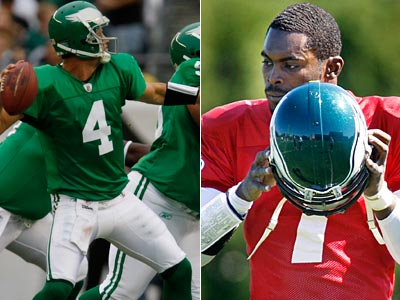 Michael Vick, left, is expected to start Sunday for Kevin Kolb, who is rehabbing from a concussion. (Staff photographers)