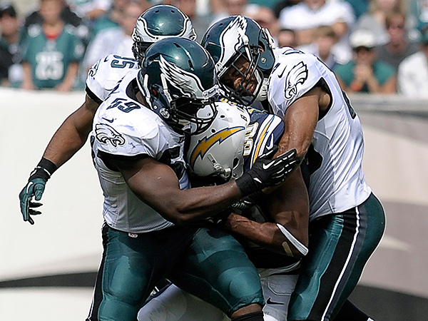 San Diego Chargers´ Malcom Floyd, center, tackled by Philadelphia Eagles´ DeMeco Ryans, left, and Nate Allen during the second half of an NFL football game on Sunday, Sept. 15, 2013, in Philadelphia. (AP Photo/Michael Perez)