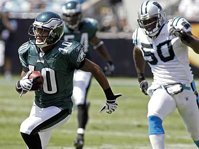 Wide receiver DeSean Jackson is among seven Eagles players who were fined for their end-zone celebration against the Panthers. (AP photo / Rick Havner)