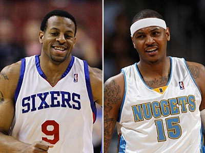 Trade rumors involving the Sixers´ Andre Iguodala and the Nuggets´ Carmelo Anthony have started to surface. (AP File Photos)