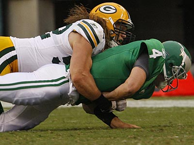 Kevin Kolb suffered a concussion on this hit by Clay Matthews of the Green Bay Packers. (Ron Cortes/Staff Photographer)