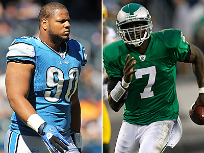 Will the Eagles be able to stop Lions rookie Ndomukong Suh from pressuring Michael Vick? (AP Photos)