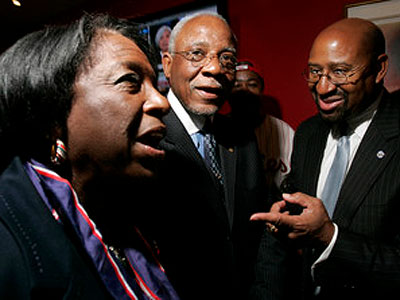 Philadelphia City Council Majority Leader Marian B. Tasco (pictured here with W. Wilson Goode Sr. and Mayor Michael Nutter) introduced a bill Thursday to eliminate the expensive Deferred Retirement Option Program or DROP. (File photo: Michael Perez / Staff Photographer)