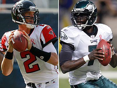Matt Ryan and Mike Vick square off tonight in Atlanta. (AP Photos)