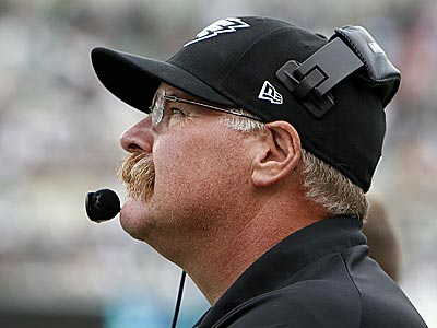 Eagles head coach Andy Reid watches a replay during a challenge in the fourth quarter. (David Mailetti/Staff Photographer)