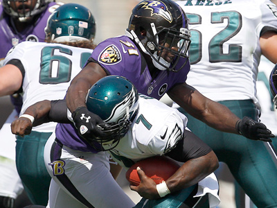 Michael Vick threw two interceptions in the Eagles´ win over the Ravens. (David Maialetti/Staff Photographer)