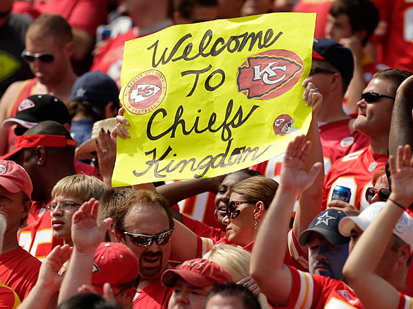 Chiefs fans cheer during the second half of a game against the Cowboys at Arrowhead Stadium. (Charlie Riedel/AP)