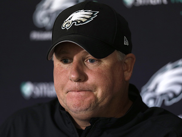 Philadelphia Eagles head coach Chip Kelly listens to a question at a<br />news conference on Monday, Sept. 16, 2013. (Matt Rourke/AP)