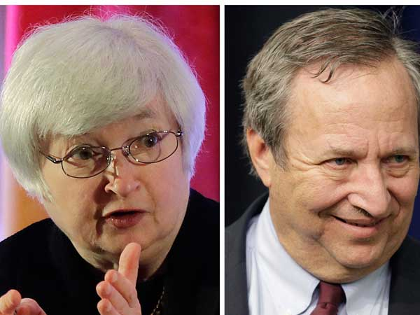 This photo combo shows Fed Vice Chair Janet Yellen, left, and former Treasury Secretary Lawrence Summers. (AP photo)