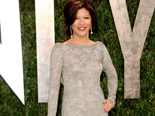 Julie Chen arrives at the Vanity Fair Oscar party on Sunday, Feb. 26, 2012, in West Hollywood, Calif. (AP Photo/Evan Agostini)