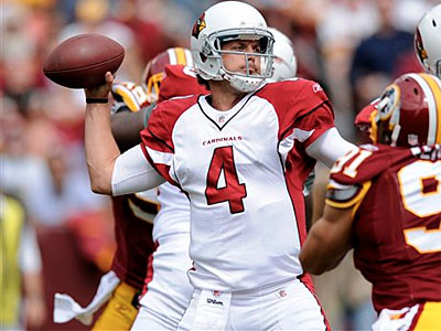 Kevin Kolb (4) and the Cardinals fell to the Redskins Sunday afternoon, 22-21. (AP Photo / Nick Wass)