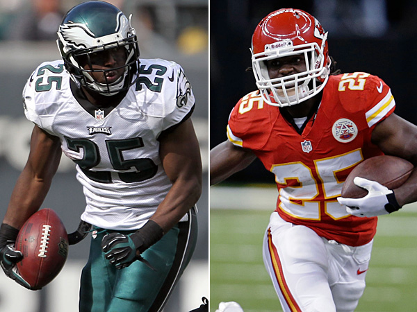 Eagles running back LeSean McCoy (left) and Chiefs running back Jamaal Charles (right). (Staff/AP Photos)