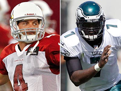 Former Eagles quarterback Kevin Kolb and current Eagles QB Michael Vick safe off on Sunday. (Staff and AP Photos)